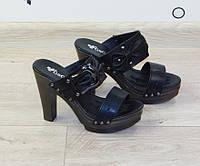 Сабо (шлепанцы) женские на толстом каблуке черные