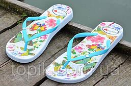 Вьетнамки, шлепанцы, сланцы женские удобные голубые, бабочки легкие ЭВА. (Код: 764). Только 38р!