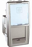 Розетка компьютерная RJ45 FTP 1-модуль Schneider Electric Unica Алюминий (MGU3.412.30)