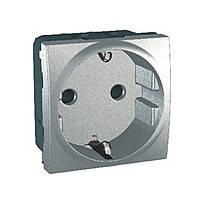 Розетка с заземлением и с шторками Schneider Electric Unica Алюминий (MGU3.037.30)
