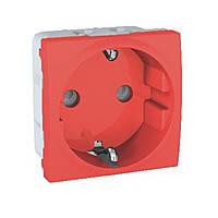 Розетка с заземлением и с шторками Schneider Electric Unica Красный (MGU3.037.03)