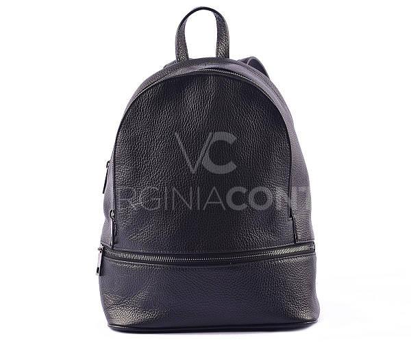 Черный кожаный рюкзак из Италии 00947