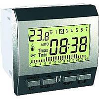 Цифровой программируемый термостат (8А/+5-35°С) Schneider Electric Unica Алюминий (MGU3.505.30)