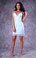 Женское льняное платье на тонких бретельках (голубое)