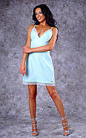 Женское короткое облегающее льняное платье с кружевом (бирюзовое) Poliit №8395