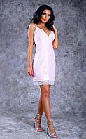 Женское короткое облегающее льняное платье с кружевом (розовое) Poliit №8395