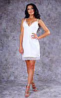 Женское короткое облегающее льняное платье с кружевом (белое) Poliit №8395
