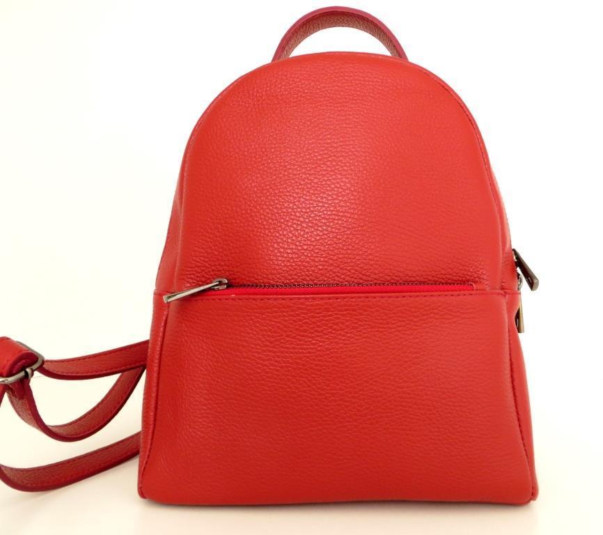 Рюкзак молодіжний, жіночий. 100% натуральна шкіра! Червоний
