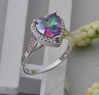 Изысканное женское кольцо с мистик топазом в виде сердца 17р 18р