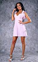 Женское льняное платье с бантами-завязками на плечах (розовое)