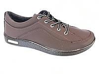 Туфли спортивный на шнурках мужские коричневый  Pilot - T-19