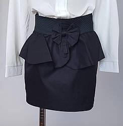Юбка для девочек с поясом-резинкой и баской