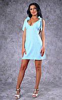 Женское льняное платье с бантами-завязками на плечах (голубое)