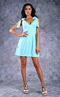 Женское льняное платье с бантами-завязками на плечах (бирюзовое)