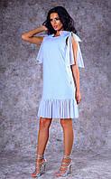 Женское льняное платье с шифоновыми оборками (голубое)