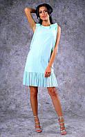 Женское короткое льняное платье с оборками из шифона (мятное) Poliit №8396