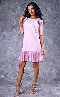 Женское короткое льняное платье с оборками из шифона (розовое) Poliit №8396