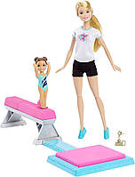 Кукла Барби гимнастка и её ученица, делающая сальто Barbie and Toddler Student Flippin Fun Gymnastics Dolls