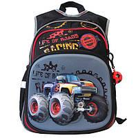 Ортопедический школьный рюкзак для мальчика с 3D картинкой: цвет черно-серый