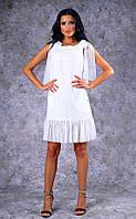 Женское короткое льняное платье с оборками из шифона (белое) Poliit №8396