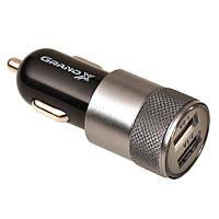 Автомобильное зарядное устройство Grand-X (2xUSB 2.1A) Black (CH-24BM) + USB/microUSB кабель