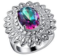 Крупное женское кольцо с мистик топазом 18р
