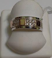Кольцо из серебра и золота с белым камнем Сима