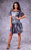 Женское трикотажное двухслойное платье с принтом (розовый питон) Poliit №8374