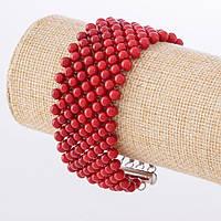 Браслет из коралловых круглых бусин (нат.) плетеный на леске L -20см d-5мм b-3см