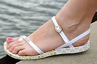 Босоножки женские силиконовые белые с узором легкие мягкая подошва 2017