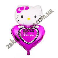 Фольгированные воздушные шары, форма: фигура-сердце Кити I love you на малиновом, 30 дюймов/72 см, 1 штука