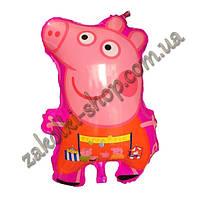 Фольгированные воздушные шары, форма: свинка Пеппа розовая, 22 дюйма/55 см, 1 штука
