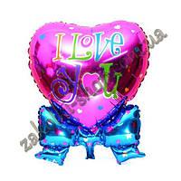 Фольгированные воздушные шары, форма: сердце с бантиком I Love You, 30 дюймов/72 см, 1 штука