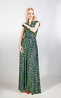 Женское  длинное платье 674/2 салатовая бабочка