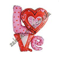 Фольгированные воздушные шары, форма: фигура LOVE с сердечком, 36 дюймов/92 см, 1 штука