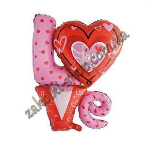 Фольговані кульки, форма: фігура LOVE з сердечком, 36 дюймів/92 см, 1 штука