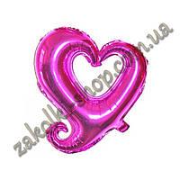 Фольгированные воздушные шары, форма: сердце малиновое(фукция), 18 дюймов/44 см, 1 штука