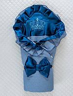 """Демисезонный конверт-одеяло """"Элегантность"""" синий ТМ Lari"""