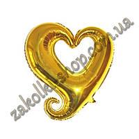 Фольгированные воздушные шары, форма: сердце золотое, 18 дюймов/44 см, 1 штука