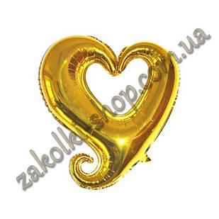 Фольговані кульки, форма: серце золоте, 18 дюймів/44 см, 1 штука