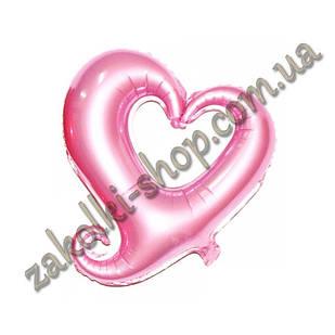 Фольговані кульки, форма: серце рожеве, 18 дюймів/44 см, 1 штука
