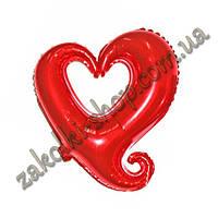 Фольгированные воздушные шары, форма: сердце красное, 18 дюймов/44 см, 1 штука