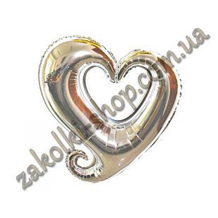 Фольговані кульки, форма: серце срібло, 18 дюймів/44 см, 1 штука