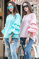 Оригинальная летняя блуза с фактурными защипами на рукавах (разные цвета)
