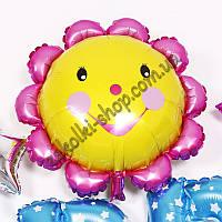 Фольгированные воздушные шары, форма: фигура Солнышко с улыбкой, 22 дюйма/56 см, 1 штука