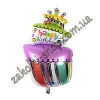 Фольгированные воздушные шары, форма: фигура тортик Happy birthday, 38 дюймов/96 см, 1 штука