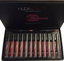 Набор жидких помад и карандашей для губ Huda Beauty (12 + 2 шт.)