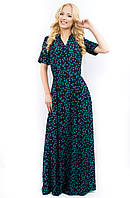 Женское длинное платье 674 голубая бабочка