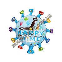 Фольгированные воздушные шары, форма: круг со стрелочками Happy Time, 24 дюйма/62 см, 1 штука
