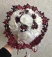 """Свадебный букет-дублёр невесты """"Кружева"""" (бордовый / марсала)"""